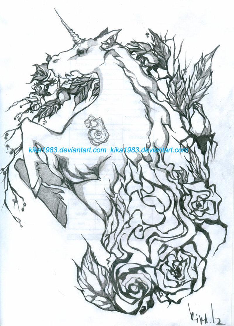 Unicorn fantasy tattoo sample