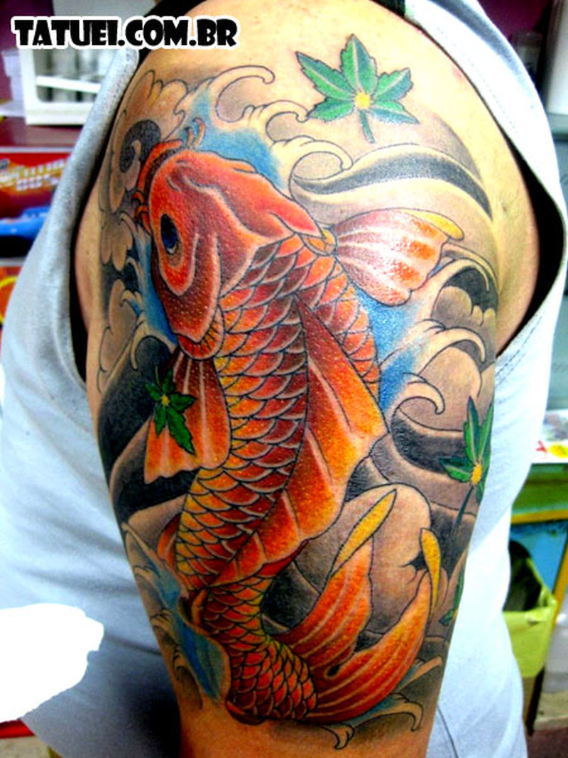upper arm japanese koi fish design tattoo tattoos book. Black Bedroom Furniture Sets. Home Design Ideas