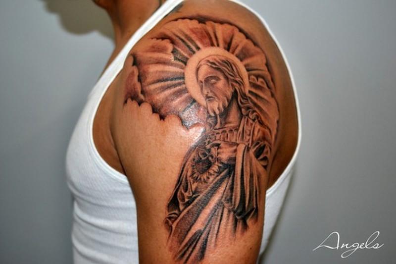 Upper arm jesus tattoo design