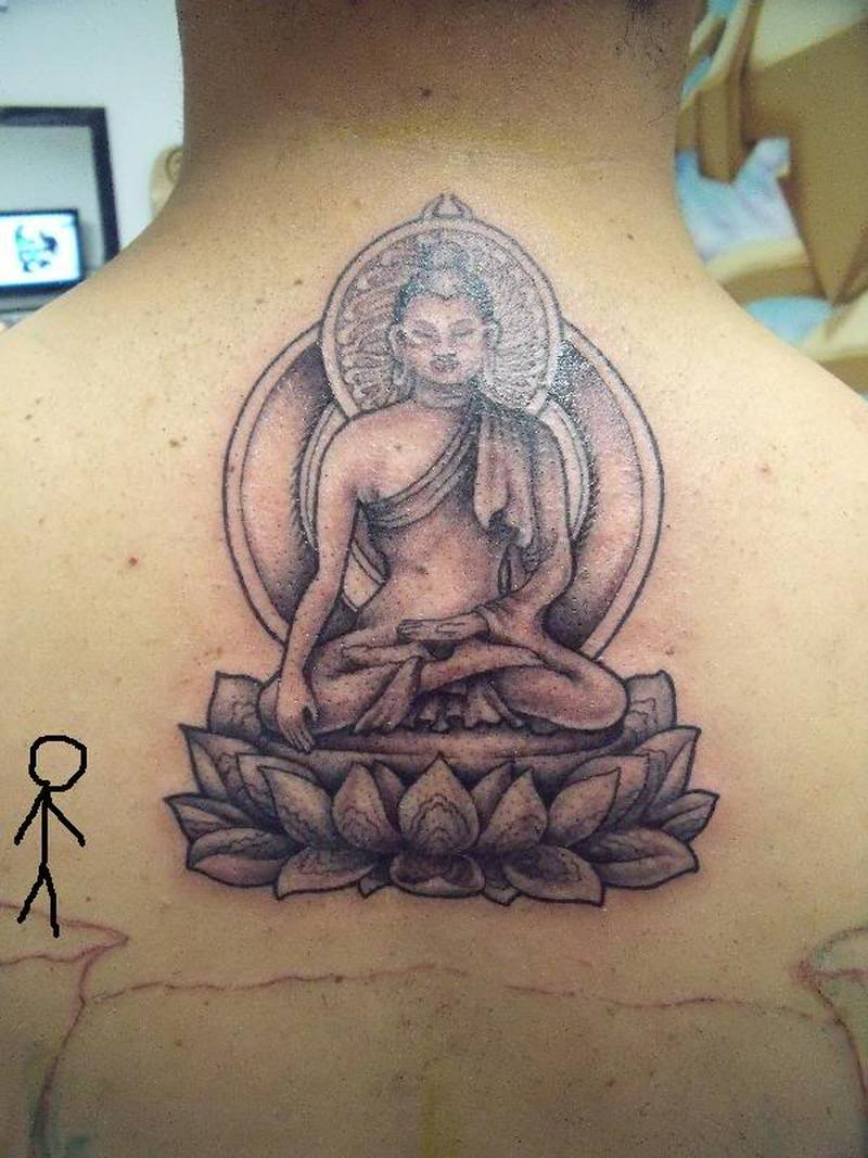 559d3d7892ae1 Upper back religious buddha tattoo design - Tattoos Book - 65.000 ...