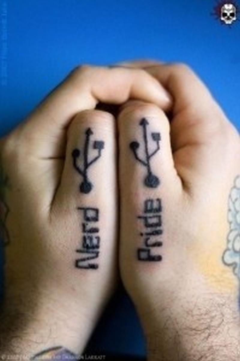 Usb port geek tattoo on hands
