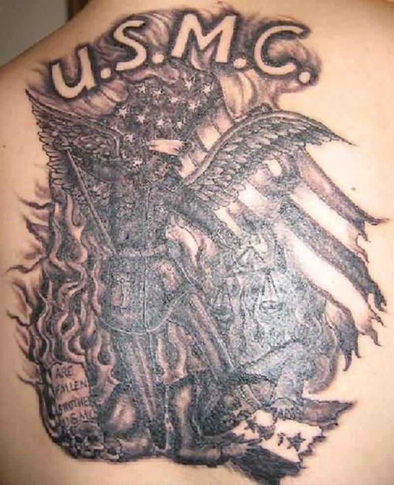 Usmc angel design tattoo
