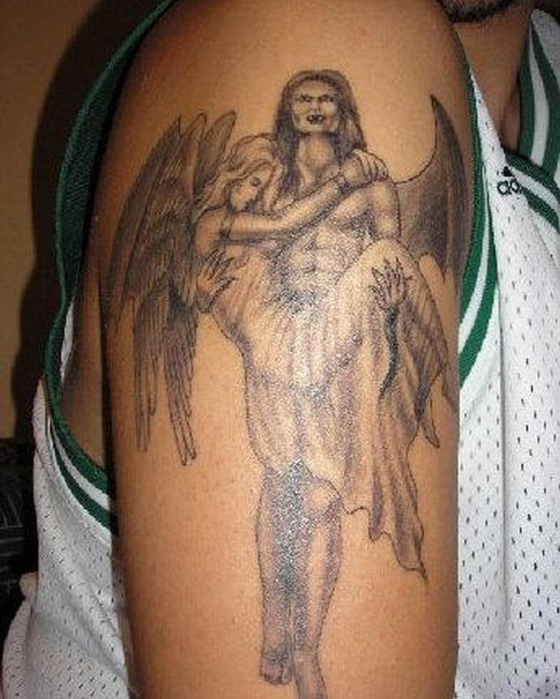 Vampire carrying angel girl tattoo design