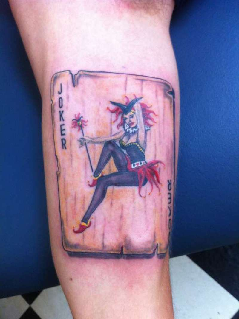 Vargas pinup joker card tattoo design