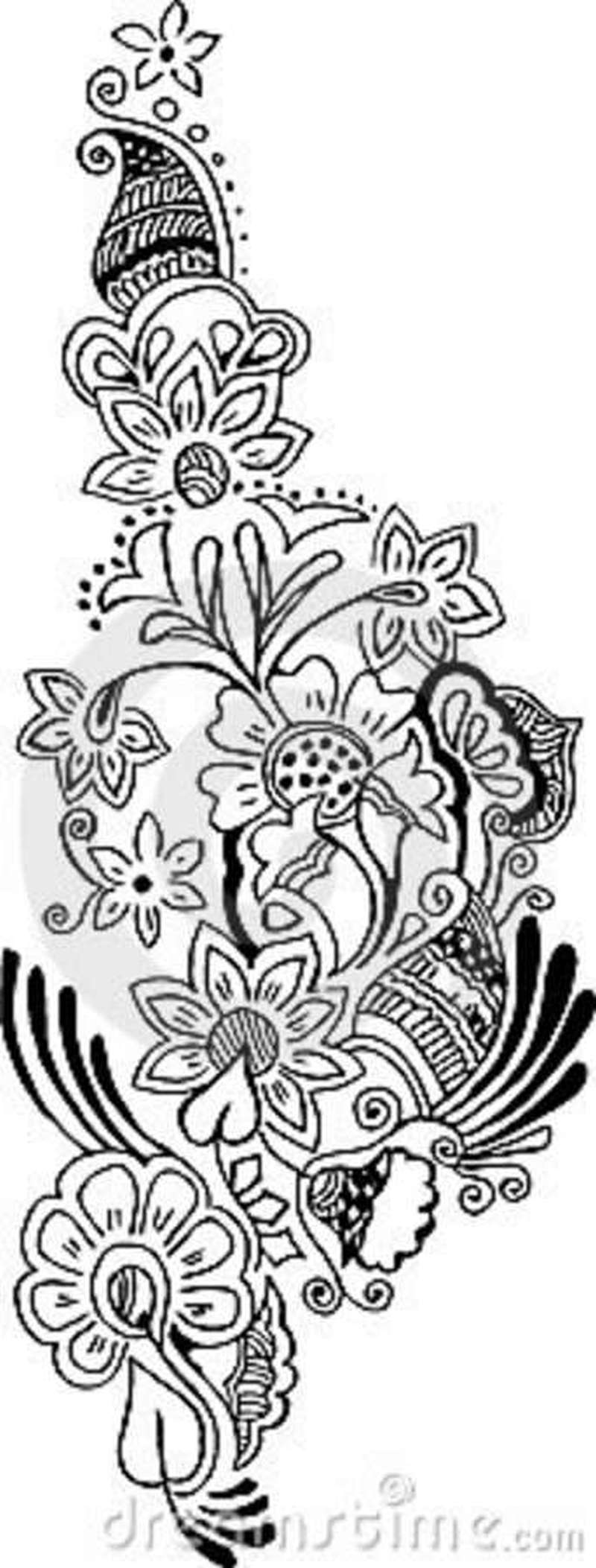 Vector floral pattern tattoo design