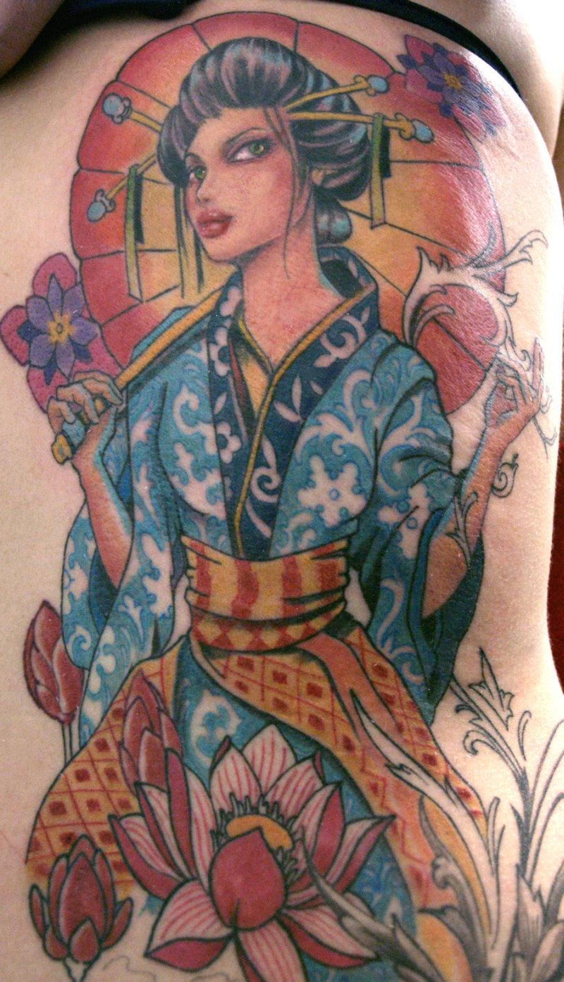 Very beautiful geisha tattoo design