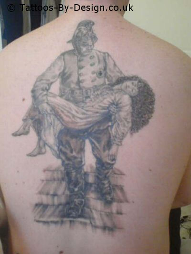 Victorian firefighter tattoo on back