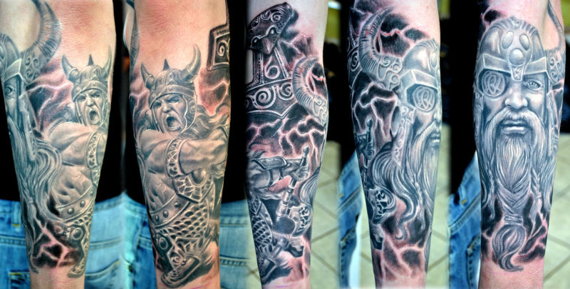 Viking Horror Sleeve Tattoo Project Tattoos Book 65 000 Tattoos