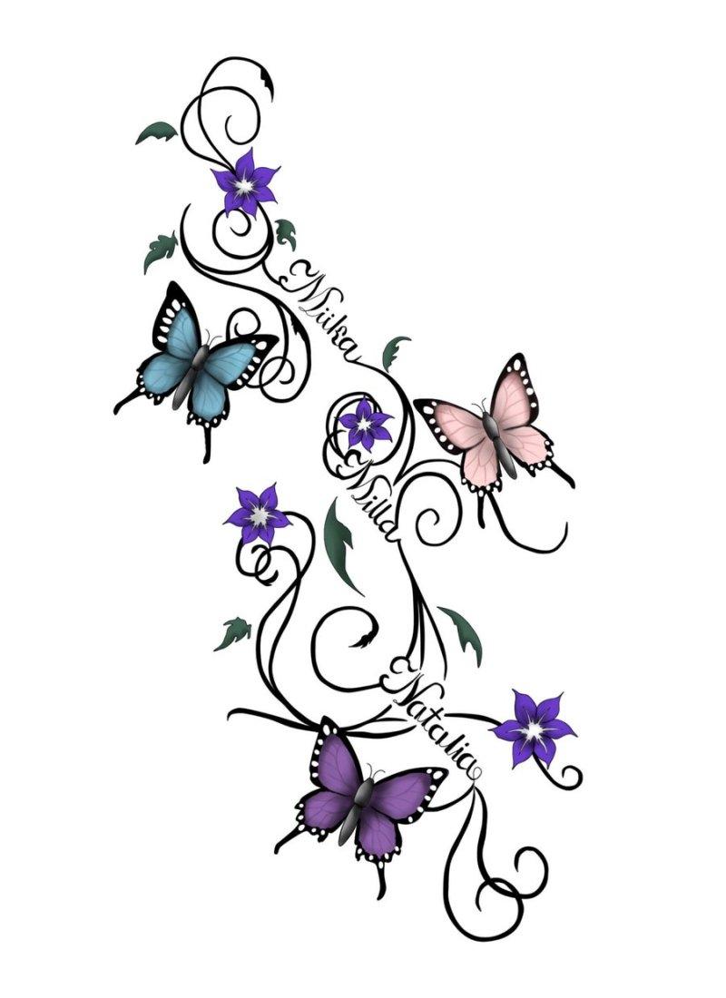 Vines butterflies tattoo design