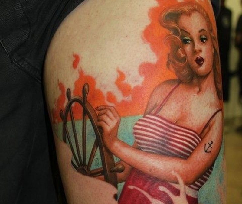 Vintage blonde sailor pin up girl tattoo