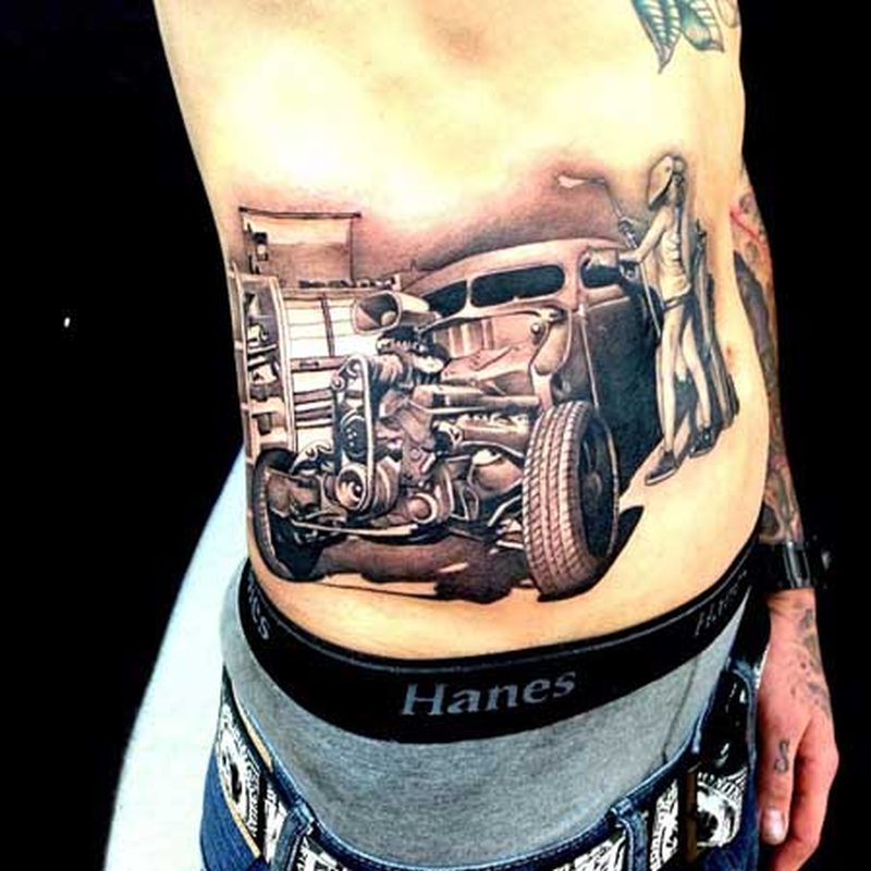 Vintage car tattoo on rib side for men