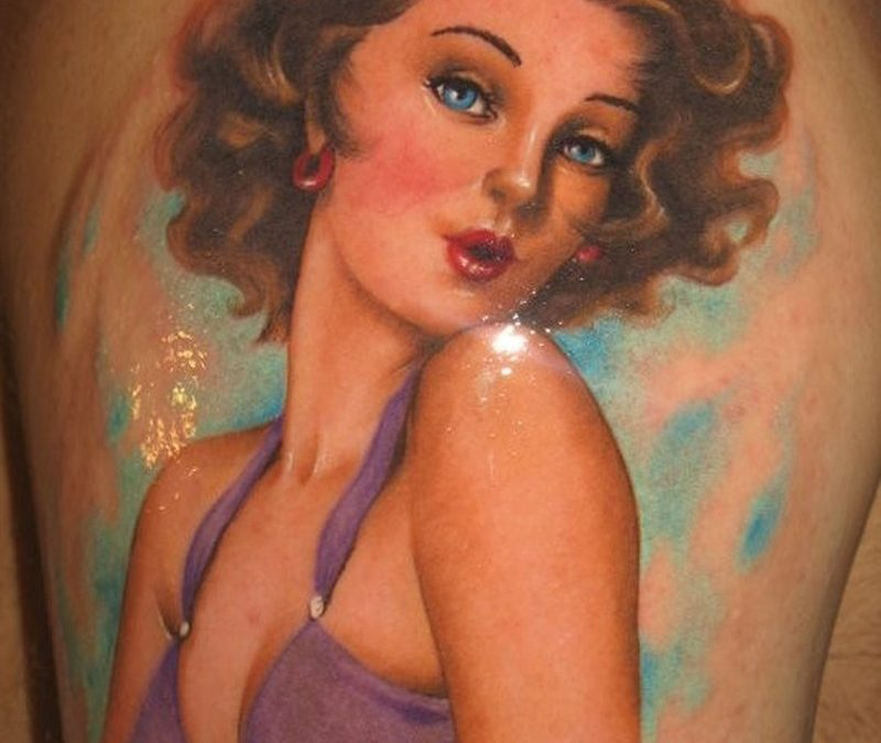 Vintage girl in purple dress pin up tattoo by Riccardo Cassese