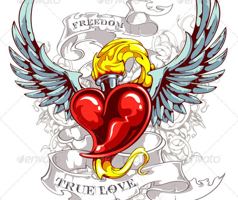 Vintage heart wings tattoo design