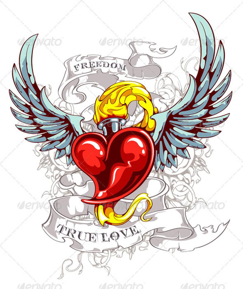 Vintage heart wings tattoo design