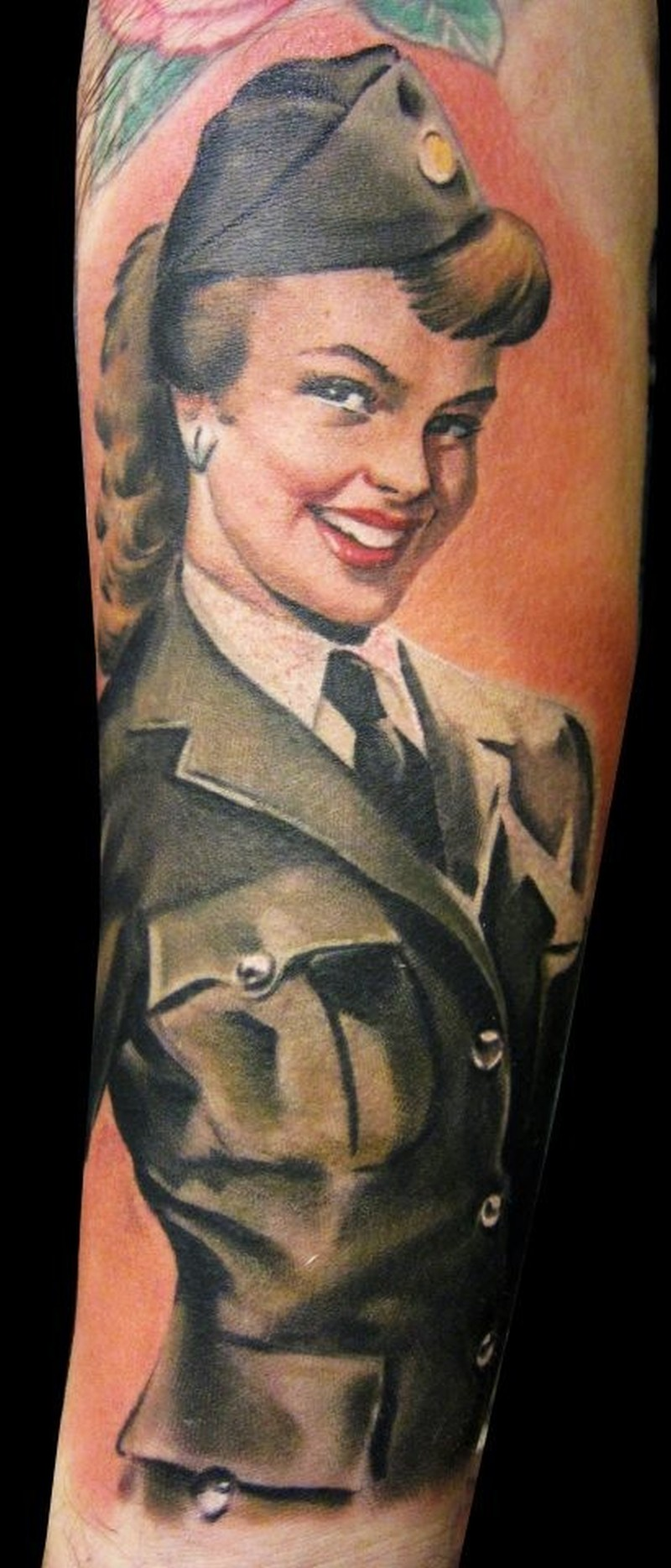 vintage military pin up girl tattoo by matteo pasqualin tattoos book tattoos designs. Black Bedroom Furniture Sets. Home Design Ideas