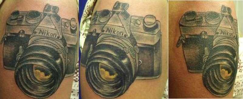 Vintage nikon camera tattoo