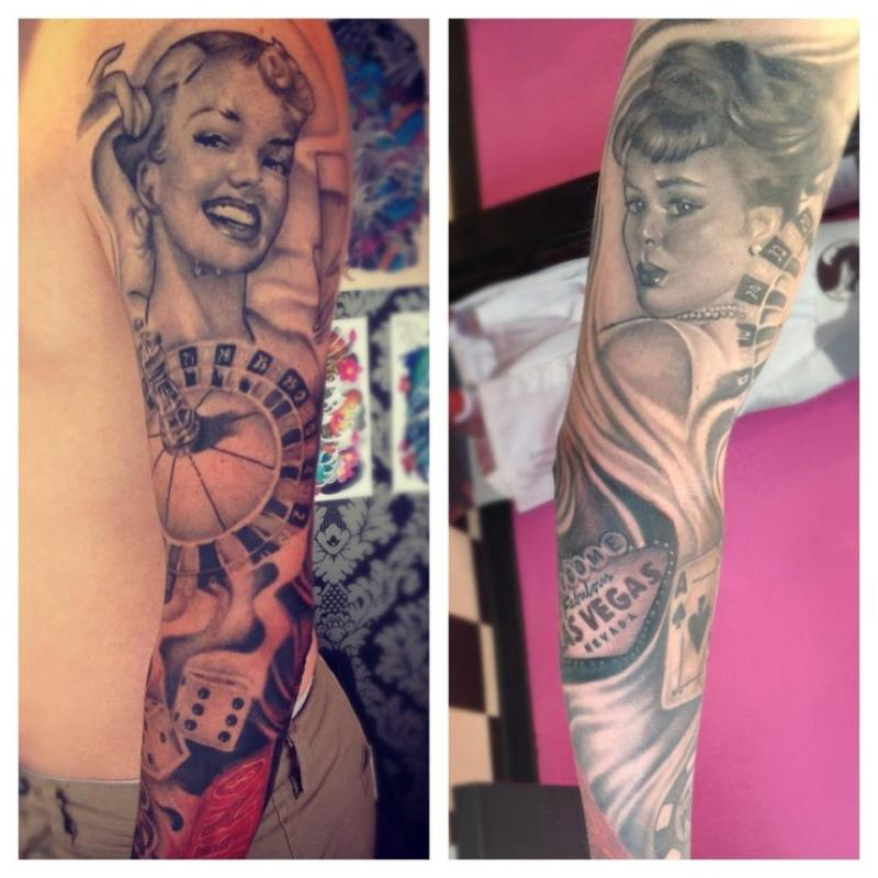 Vintage pin up girl tattoo on sleeve