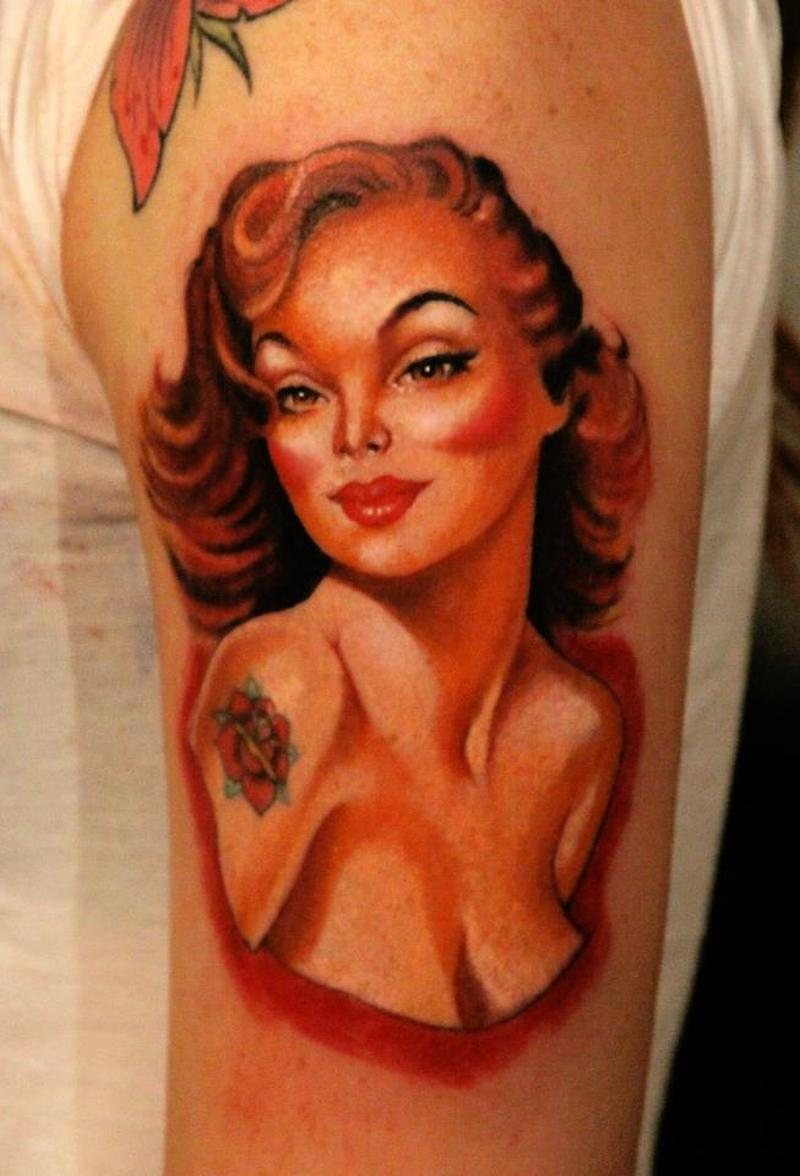 Vintage portrait pin up girl tattoo on shoulder