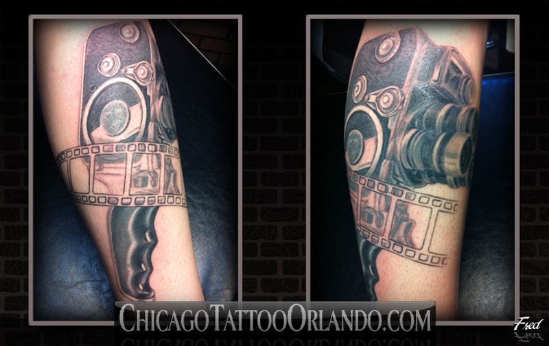 Vintage video camera tattoo image