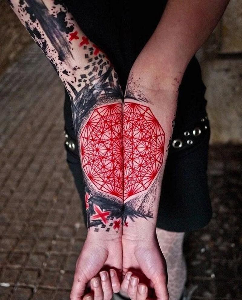 Vivid colors black red mandala fotearm tattoo