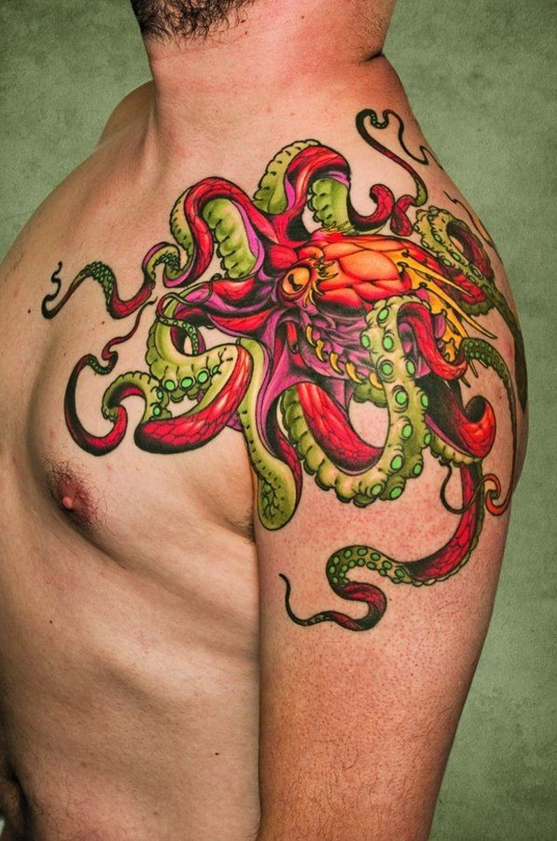 Vivid colors octopus tattoo on shoulder