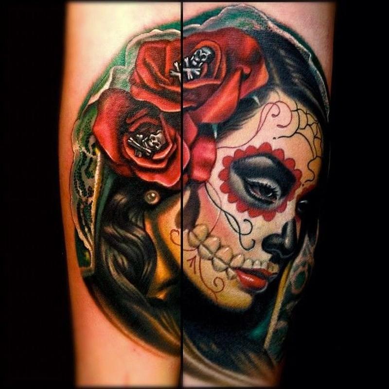 Vivid colors santa muerte with red roses tattoo – Tattoos Book