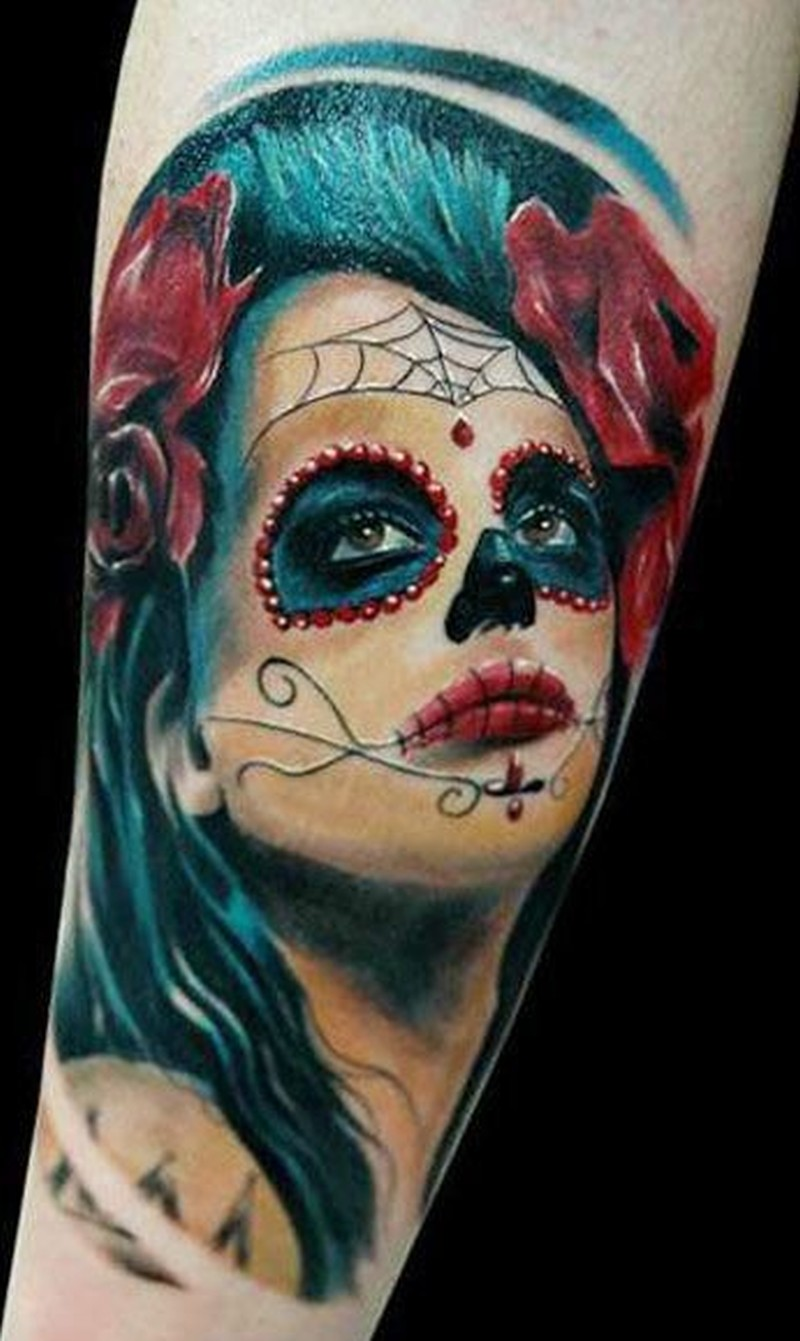 Vivid colors santa muerte with red roses tattoo1 - Tattoos