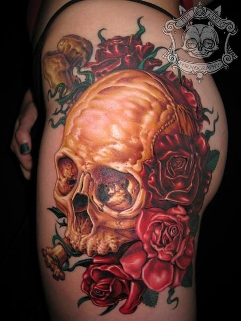 Vivid colors skull with bones and red roses tattoo - Tattoos Book ...
