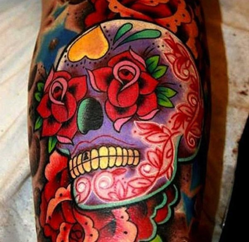 vivid colors sugar skull with red roses tattoo tattoos book. Black Bedroom Furniture Sets. Home Design Ideas