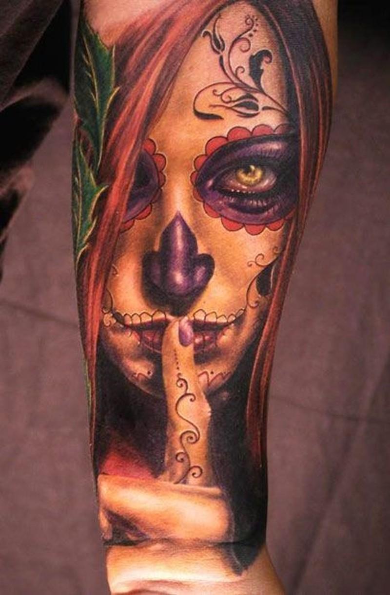 Warning santa muerte girl forearm tattoo - Tattoos Book