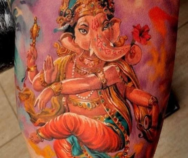 Watercolor beautiful dancing ganesha tattoo by Dmitriy Samohin