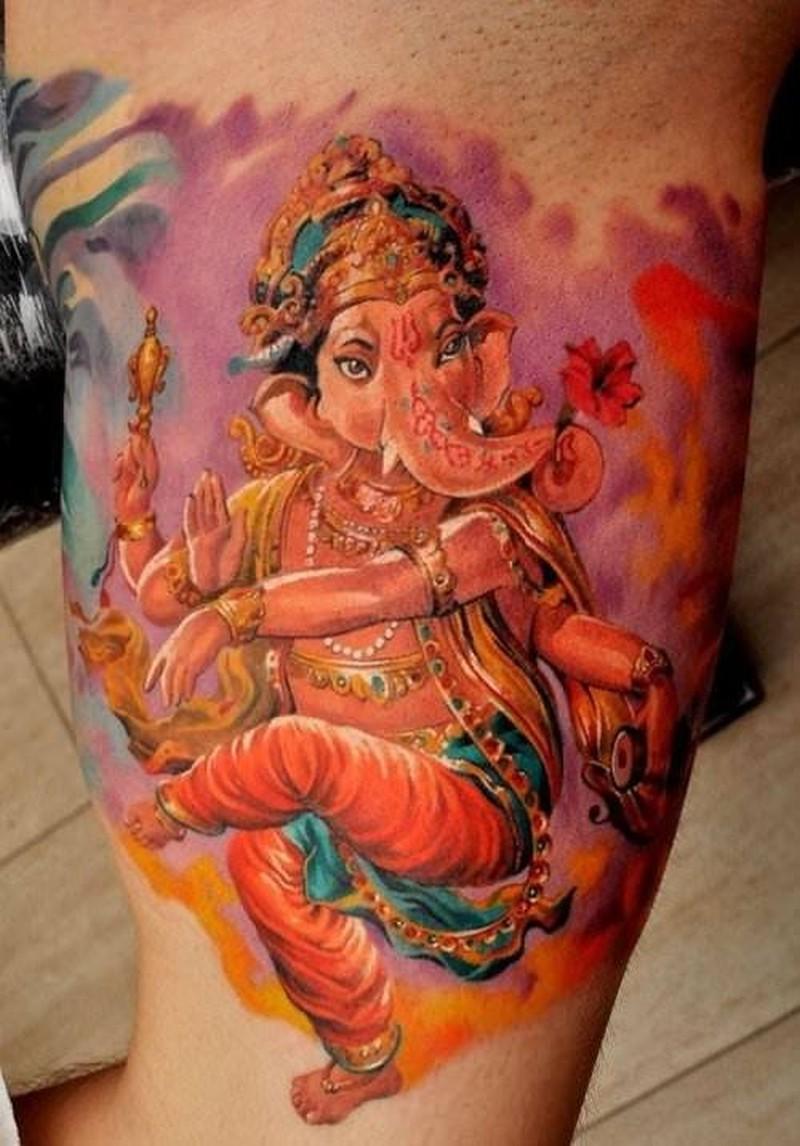 Watercolor beautiful dancing ganesha tattoo by Dmitriy Samohin
