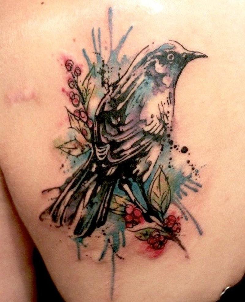 Watercolor bird tattoo 2