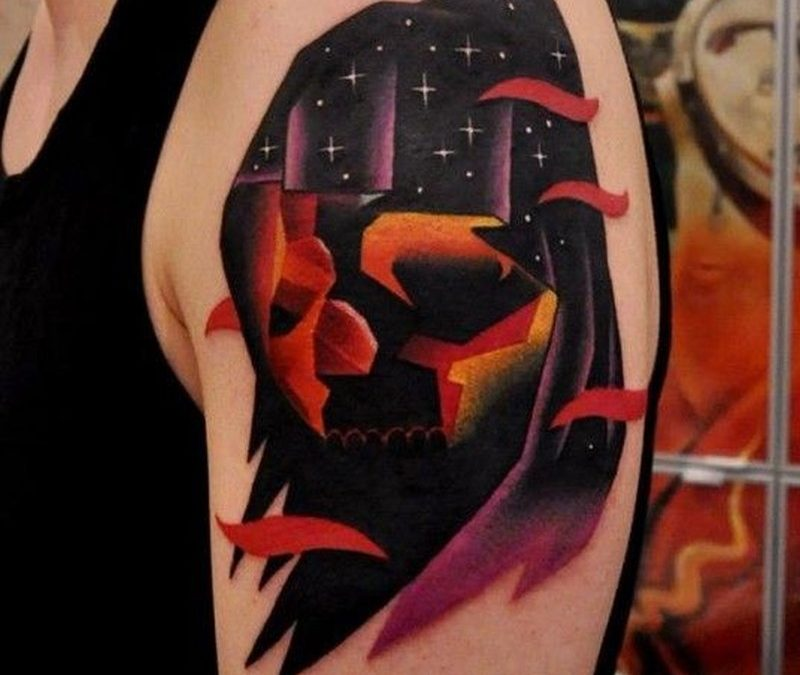 Watercolor death tattoo by aleksander surowiec