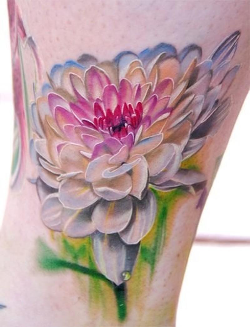 Watercolor elegant pink flower tattoo