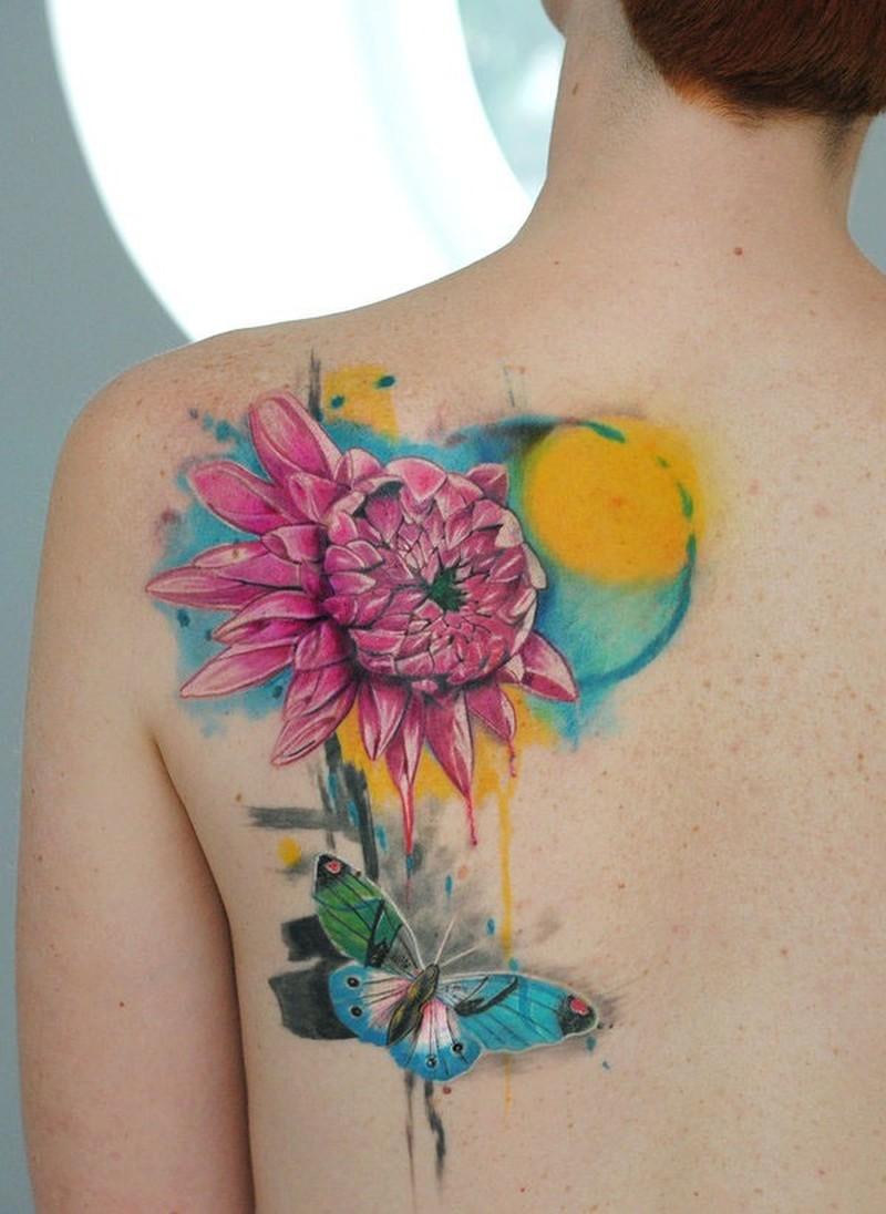 Watercolor flower tattoo by dopeindulgence