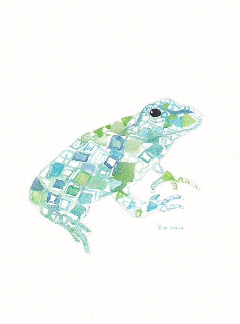 Watercolor frog tattoo design