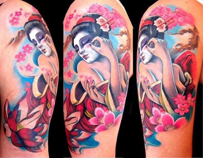 8e57a27095bc0 Watercolor geisha and cherry blossoms tattoo on half sleeve ...