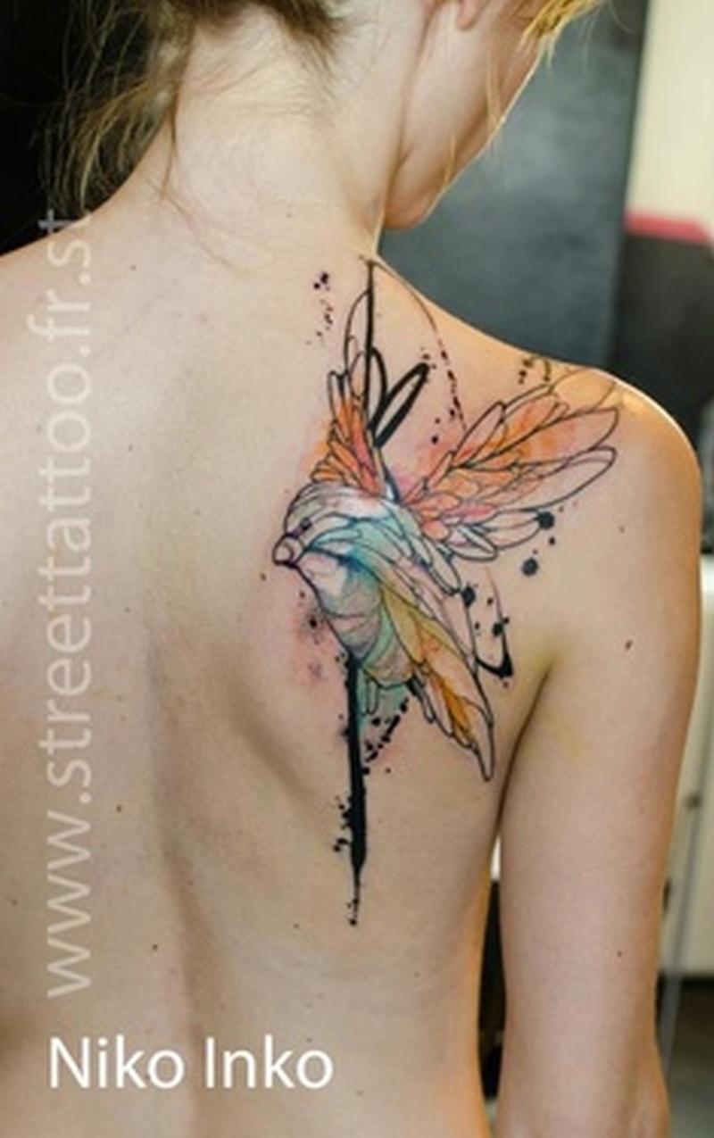 Watercolor hummingbird tattoo on back shoulder 3