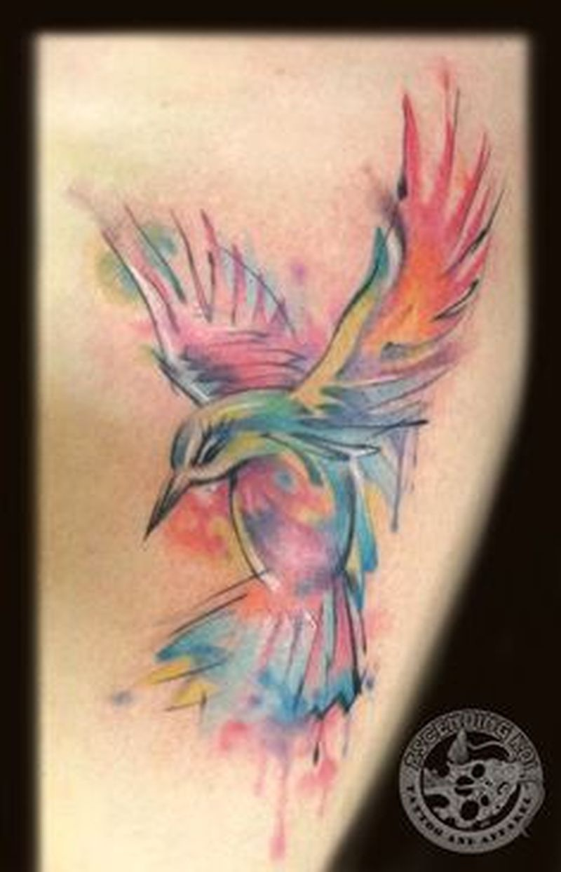 Watercolor hummingbird tattoo picture