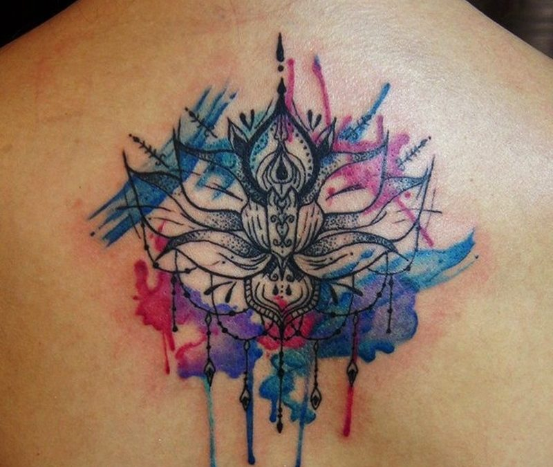 Watercolor lotus with mandala on back tattoo