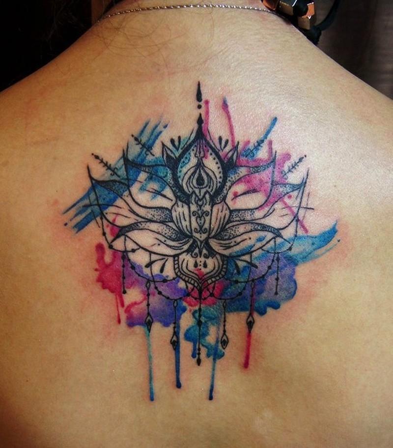 Watercolor lotus with mandala on back tattoo