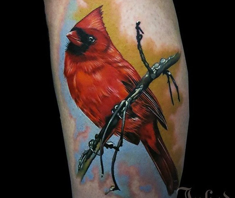 Watercolor lovely red bird tattoo