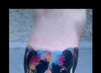 757c0a7fa Watercolor portrait of a dog and paw print tattoo