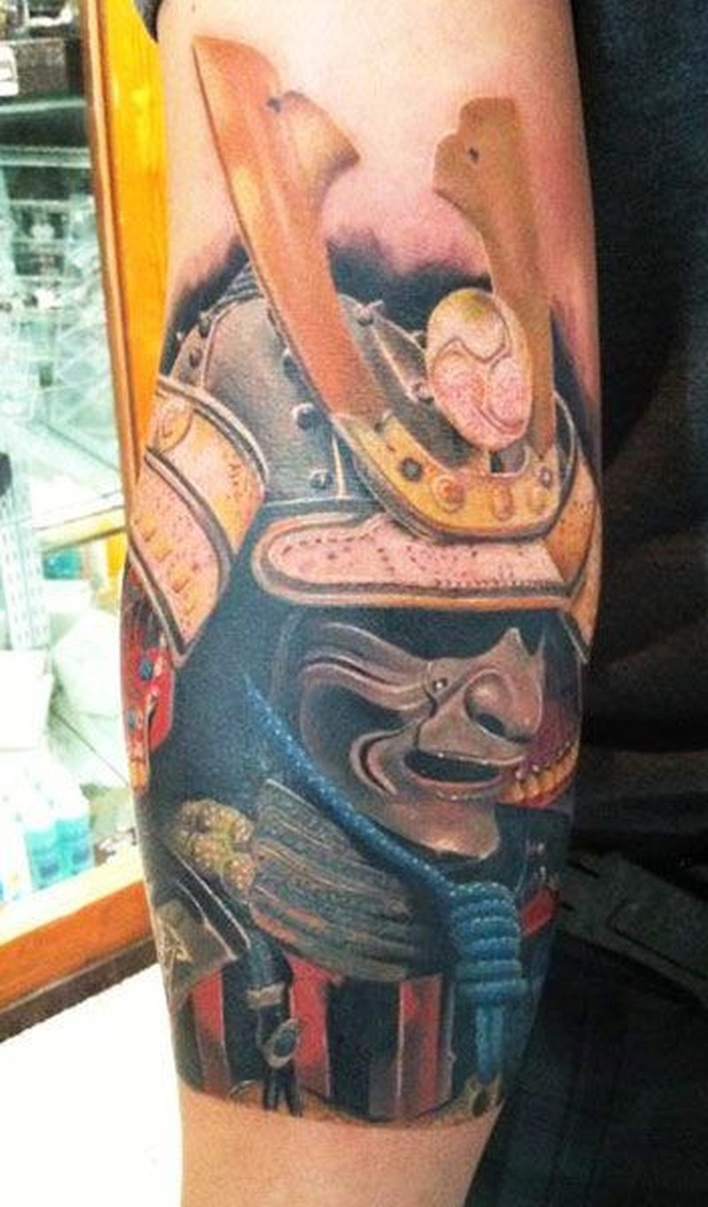 Watercolor portrait of samurai tattoo by Daniel Rocha
