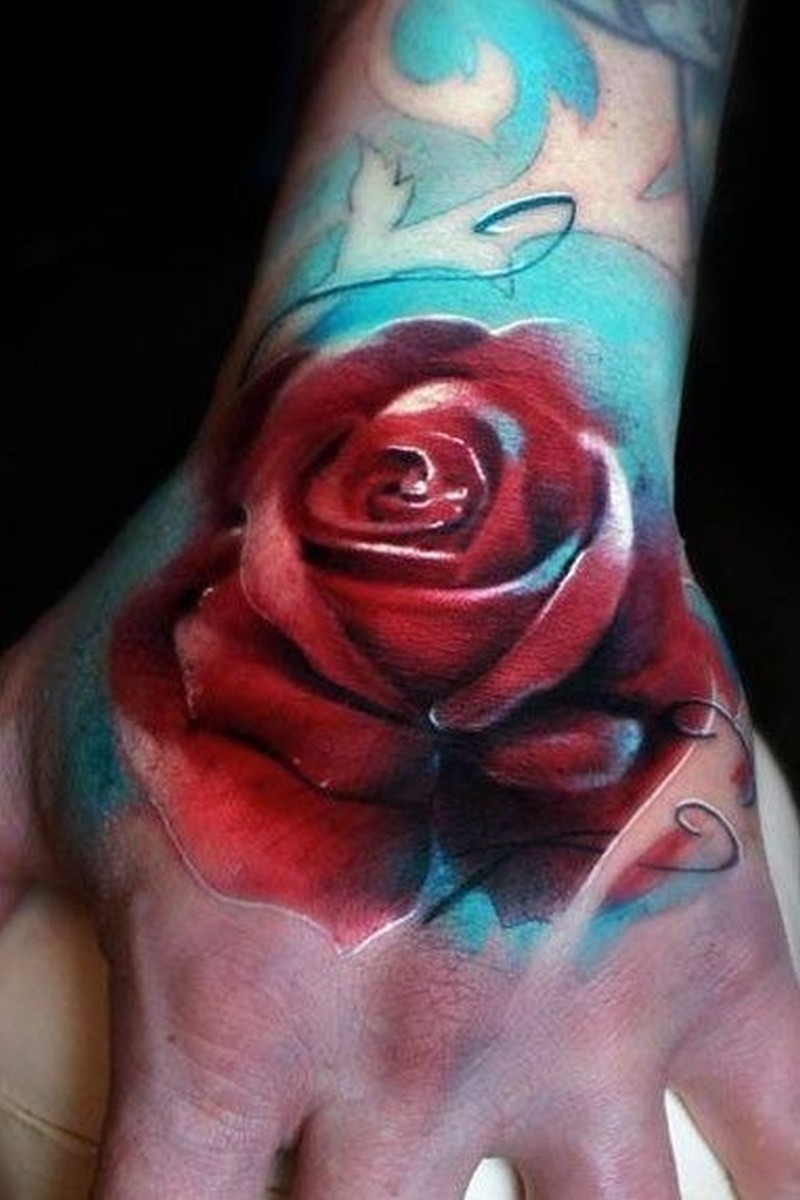 watercolor red rose tattoo on hand tattoos book tattoos designs. Black Bedroom Furniture Sets. Home Design Ideas