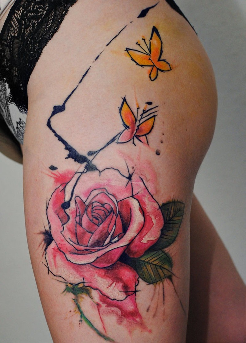 Watercolor rose by dopeindulgence tattoo