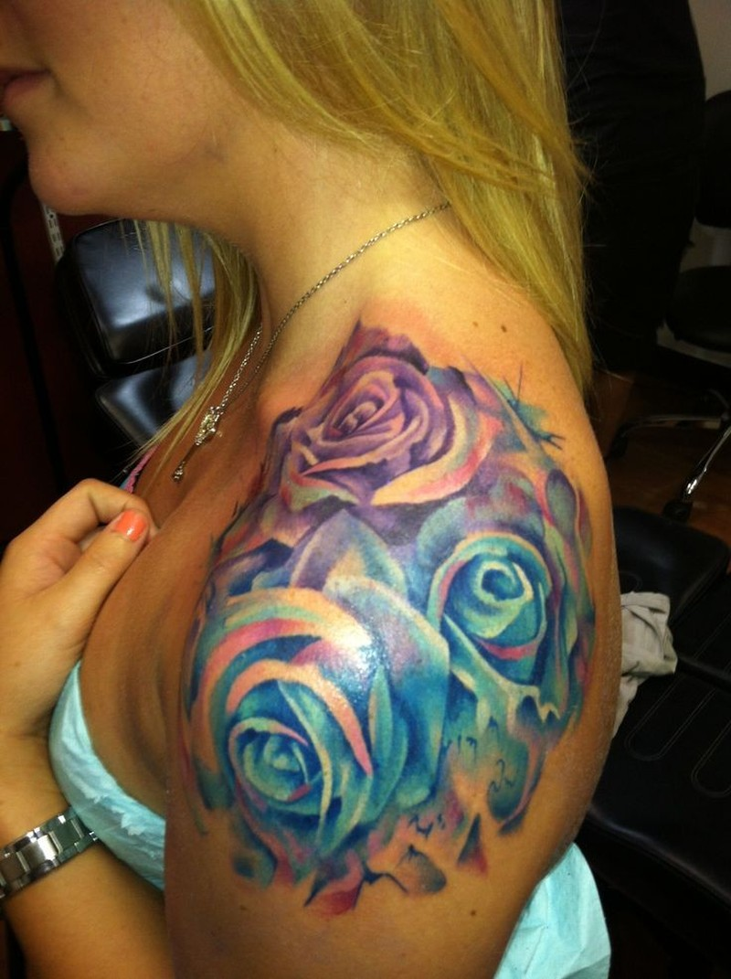 watercolor roses tattoo on shoulder for girls tattoos book tattoos designs. Black Bedroom Furniture Sets. Home Design Ideas