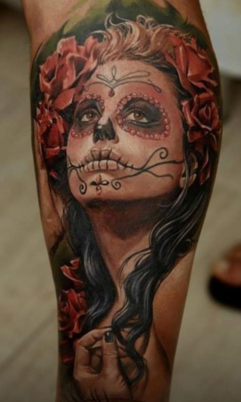 Watercolor santa muerte girl tattoo on leg tattoos book for Tattoo girl book