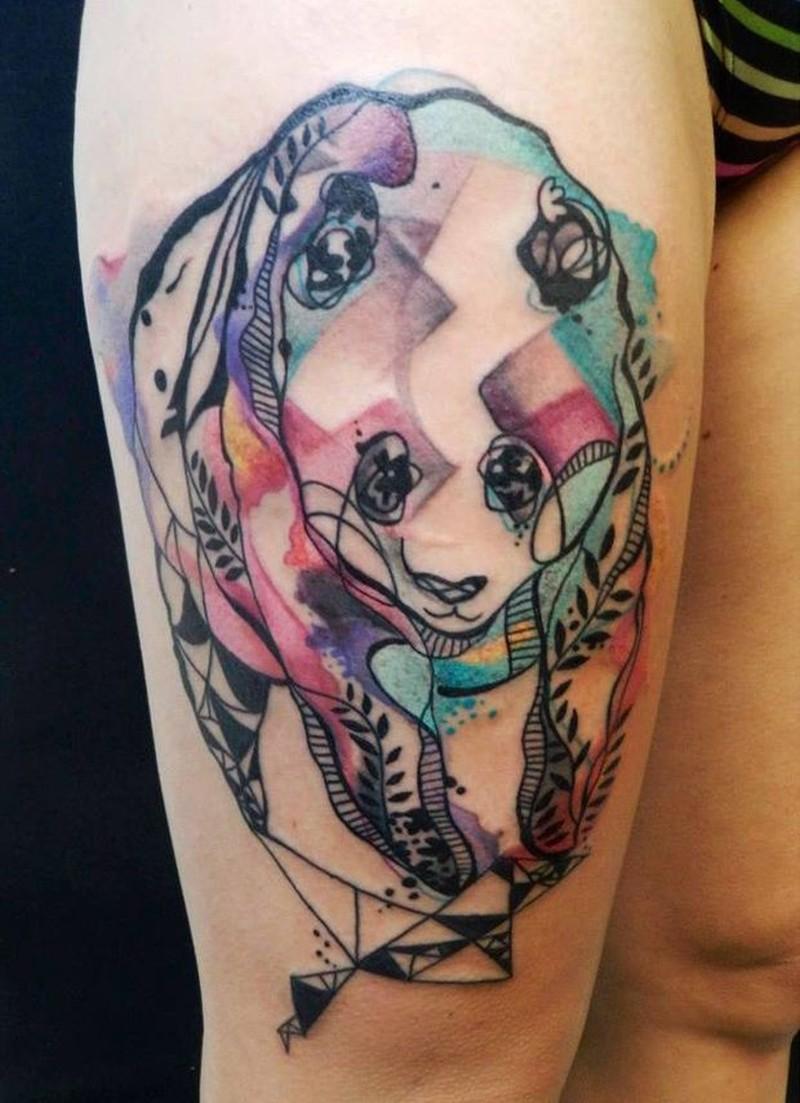 Watercolor stylized panda tattoo
